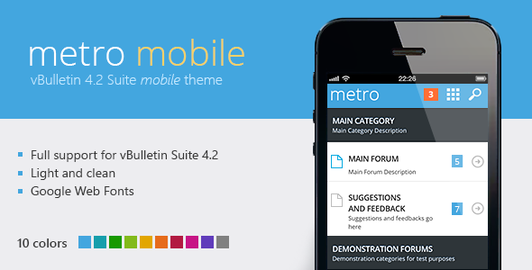 Download Metro Mobile - A Mobile Theme for vBulletin 4.2 nulled version