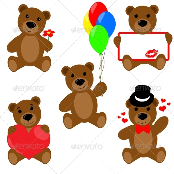 Set of Valentine teddy bears - Valentines Seasons/Holidays