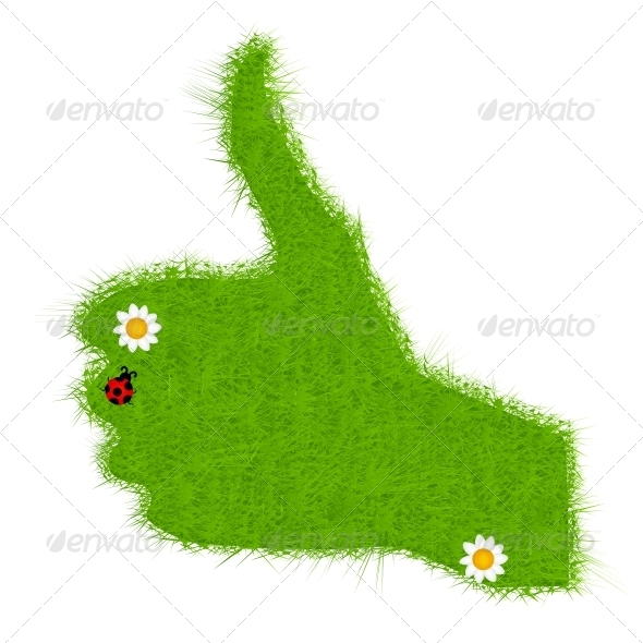 Hand grass green signal on white. vector illustrat - Landscapes Nature