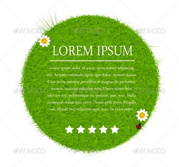 Green eco friendly label from green grass. Vector  - Landscapes Nature