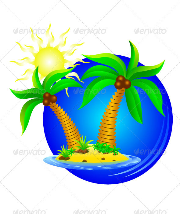 Palm trees on the island    - Nature Conceptual