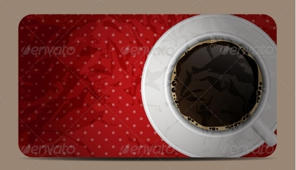 Vintage Coffee Gift Card Vector Illustration - Food Objects