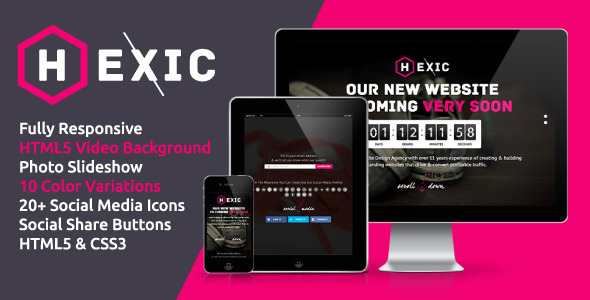 Hexic - Fully Responsive HTML5 Coming Soon Page - Under Construction Specialty Pages