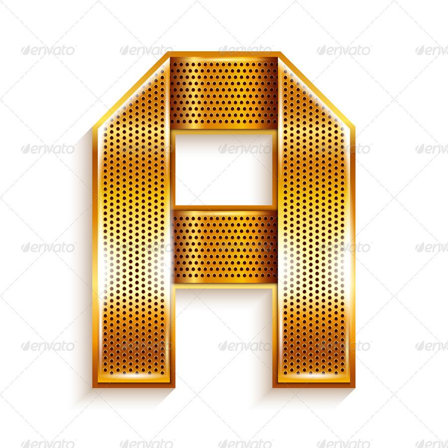 Roman Alphabet Folded From A Metallic Gold Ribbon By