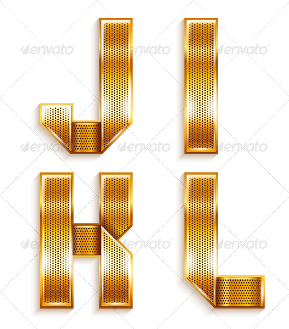 Roman Alphabet Folded From A Metallic Gold Ribbon - Decorative Symbols Decorative
