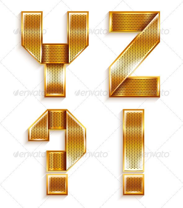 Roman Alphabet Folded From A Metallic Gold Ribbon - Decorative Symbols Decorative