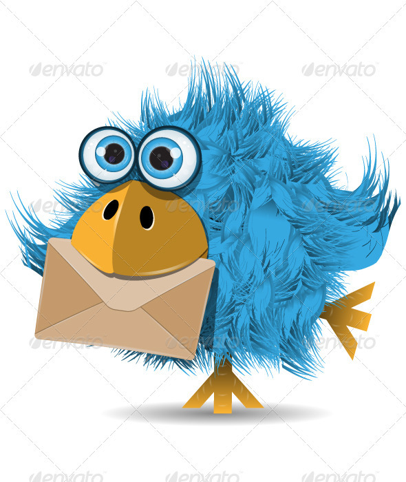 Shaggy Blue Bird with Envelope - Animals Characters