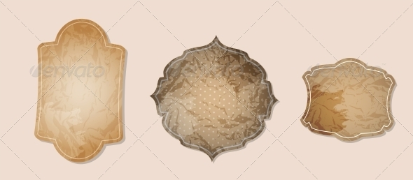 Aged Paper Labels Vector Illustration - Decorative Symbols Decorative