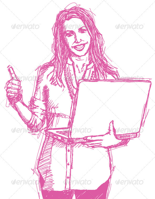 Sketch Female with Laptop Shows Well Done - People Characters