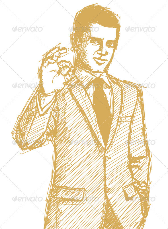 Sketch Happy Businessman in Suit Shows OK - People Characters