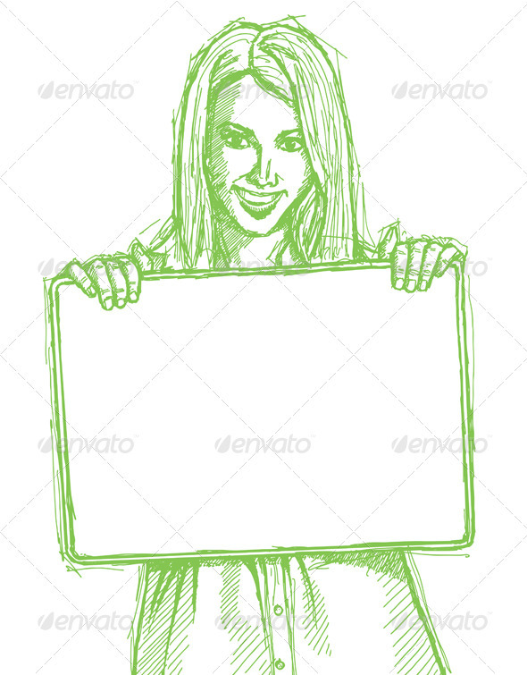 Sketch Happy Business Woman Holding Blank Card - People Characters