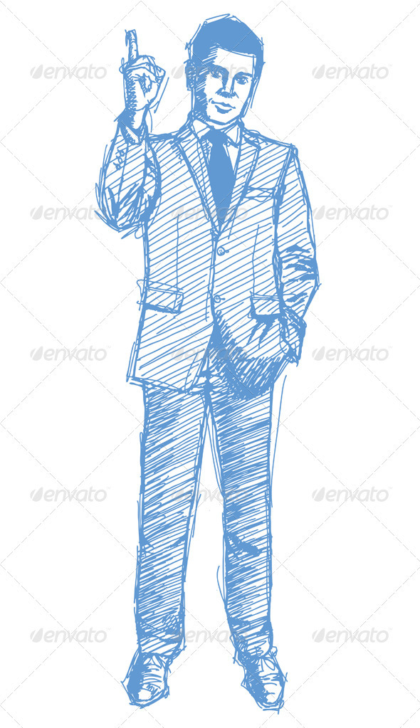 Sketch Male in Suit - People Characters