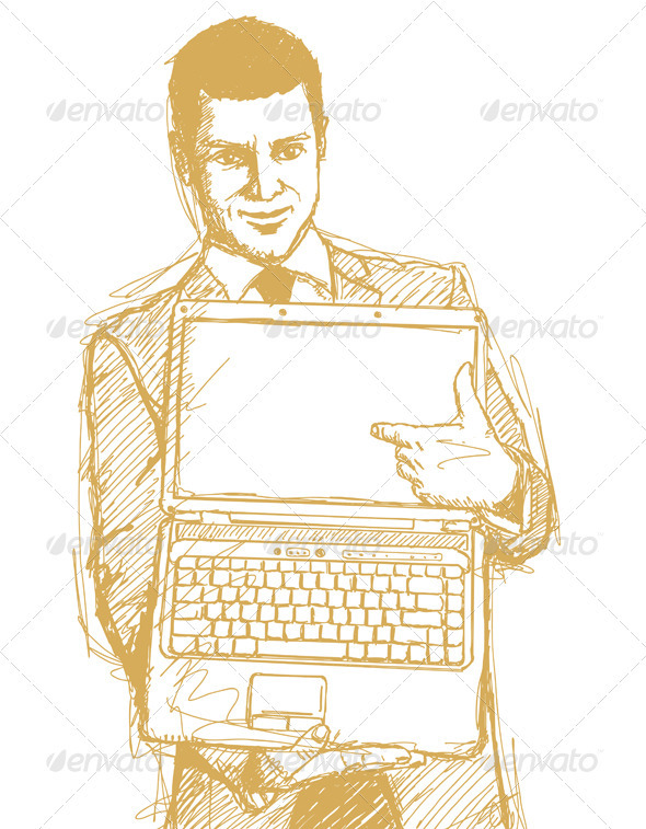 Sketch Businessman With Open Laptop In His Hands - People Characters