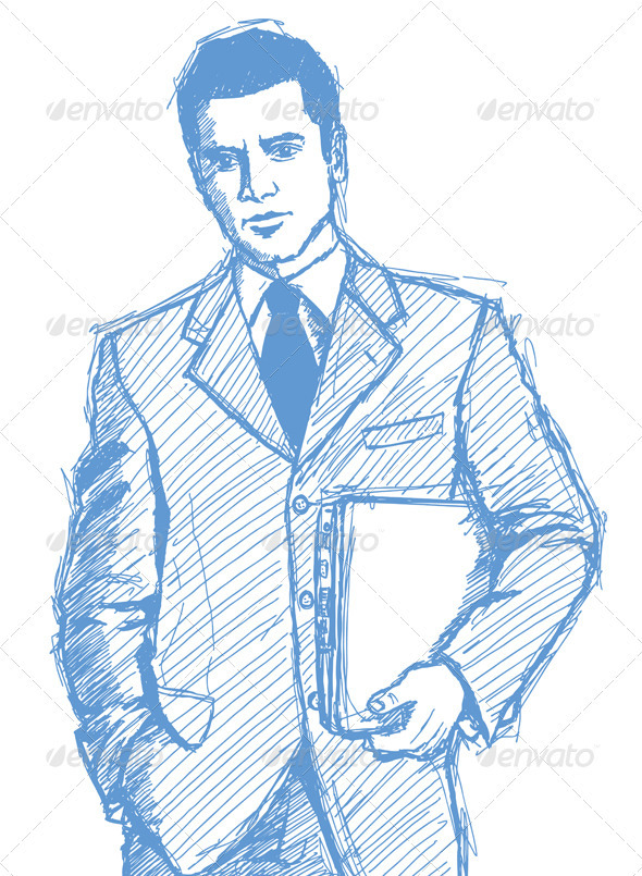 Sketch Businessman With Laptop - People Characters