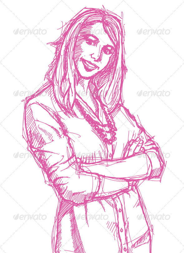 Sketch Young Business Woman with Crossed Arms - People Characters