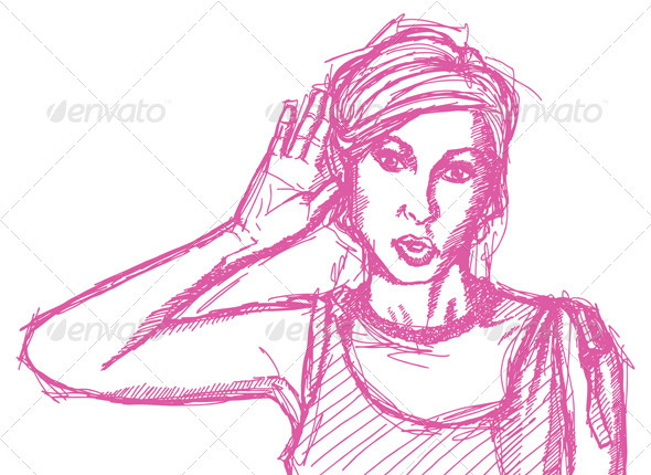 Sketch Woman Overhearing Something - People Characters