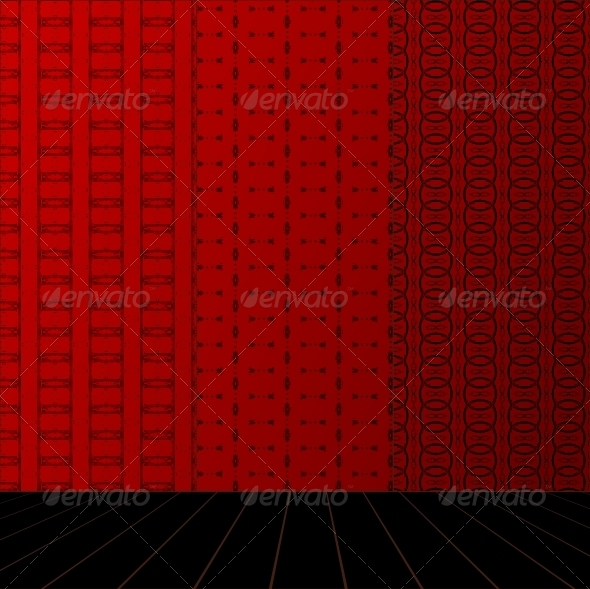 Red Room with Set Seamless and Wooden Floor - Patterns Decorative
