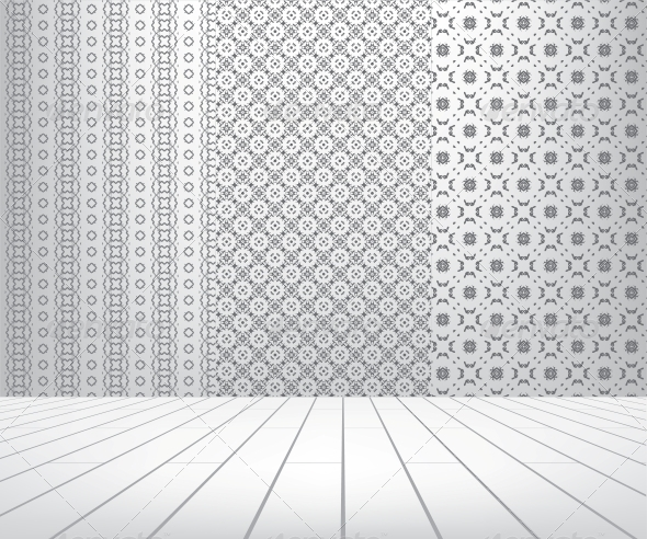 White Room with Set Seamless and Wooden Floor - Patterns Decorative