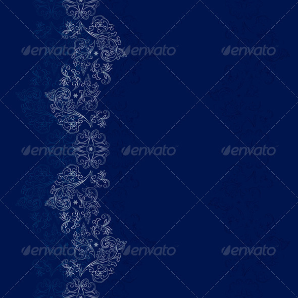 Silver Floral Seamless Pattern on Blue Background - Backgrounds Decorative