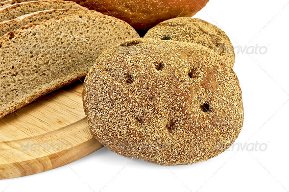 Rye flapjacks with slices of bread - Stock Photo - Images
