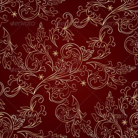 Gold Floral Vintage Seamless Pattern on Red - Backgrounds Decorative