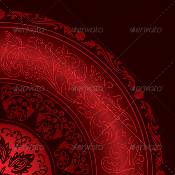Decorative Red Frame with Vintage Round Patterns - Backgrounds Decorative