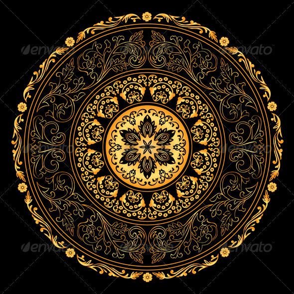 Decorative Gold Frame with Vintage Round Patterns  - Backgrounds Decorative