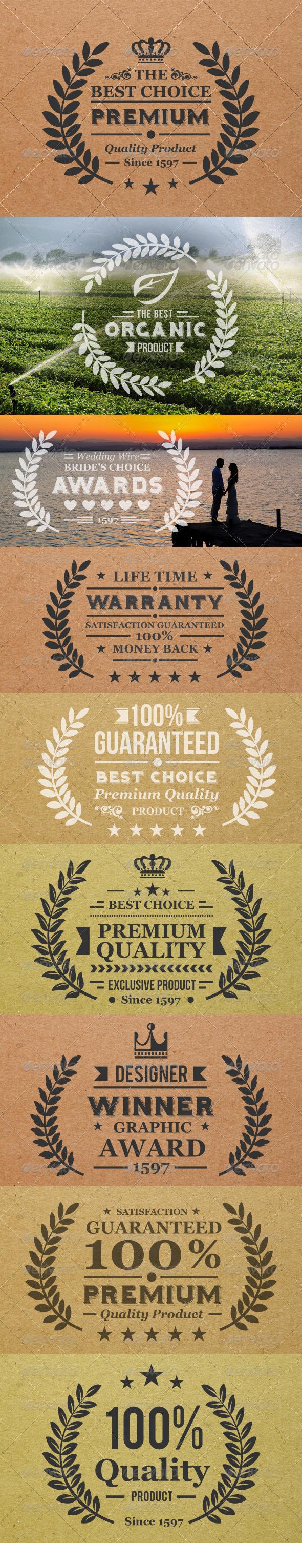 Laurel Wreath Label - Badges & Stickers Web Elements