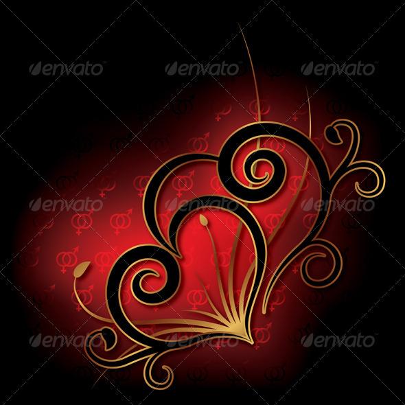 Decorative Heart Background Valentine's Day Card - Backgrounds Decorative