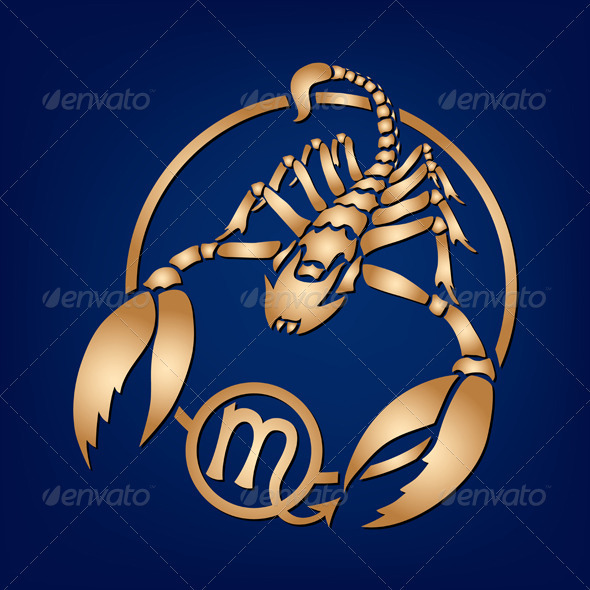 Scorpio Zodiac Sign on a Dark Blue Background - Animals Characters