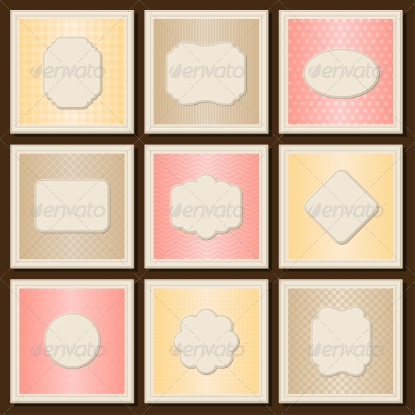 Vintage patterned cards templates set. - Backgrounds Decorative