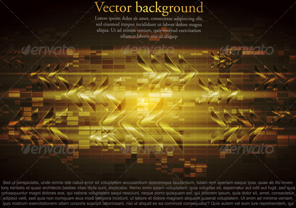 Vector yellow tech design with abstract glossy arr - Technology Conceptual