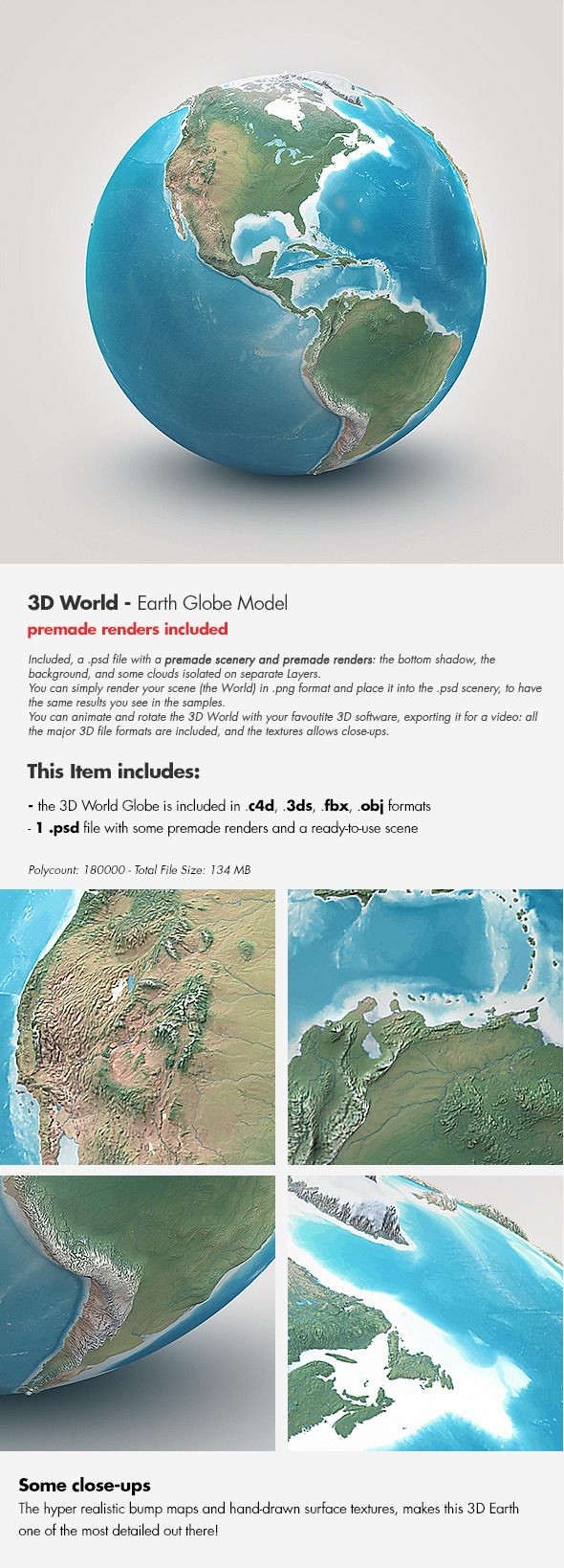 Planet earth realistic 3d world globe by giallo 3docean planet earth realistic 3d world globe 3docean item for sale gumiabroncs Images
