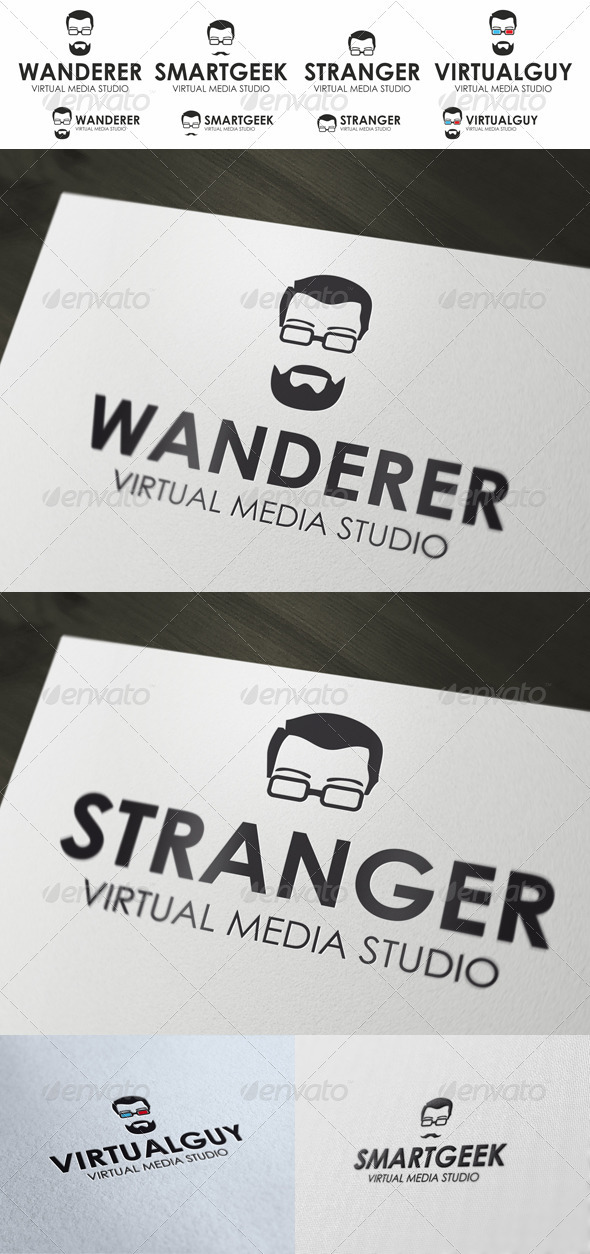 Geek Logo - Guy In Stylish Glasses - Humans Logo Templates