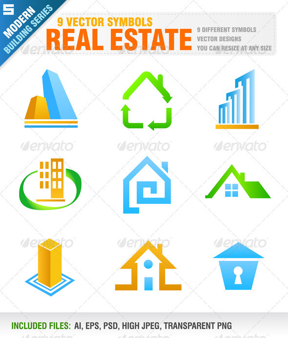 9 Real Estate Symbols - Buildings Objects