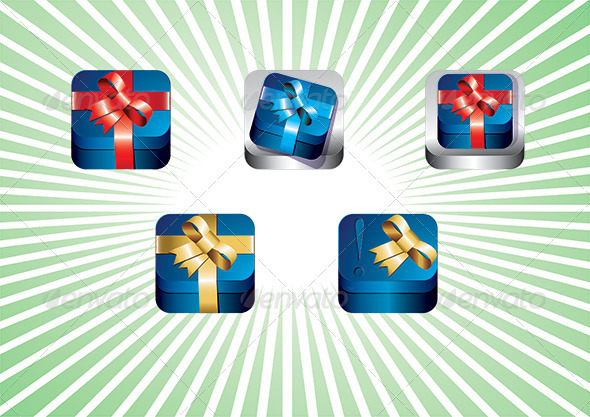 Gift box App icon set - Objects Vectors