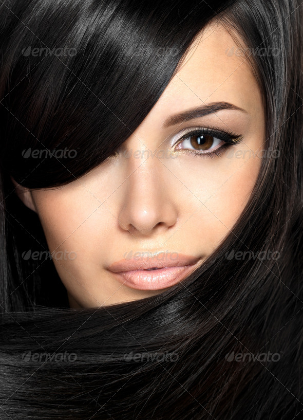 Beautiful woman with straight hair - Stock Photo - Images
