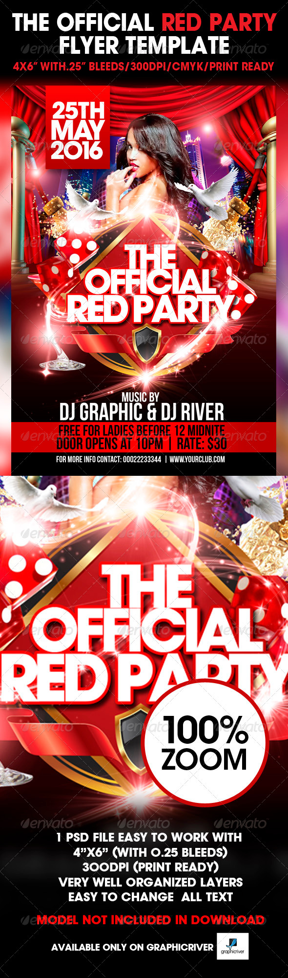 The Official Red Party Flyer Template - Clubs & Parties Events