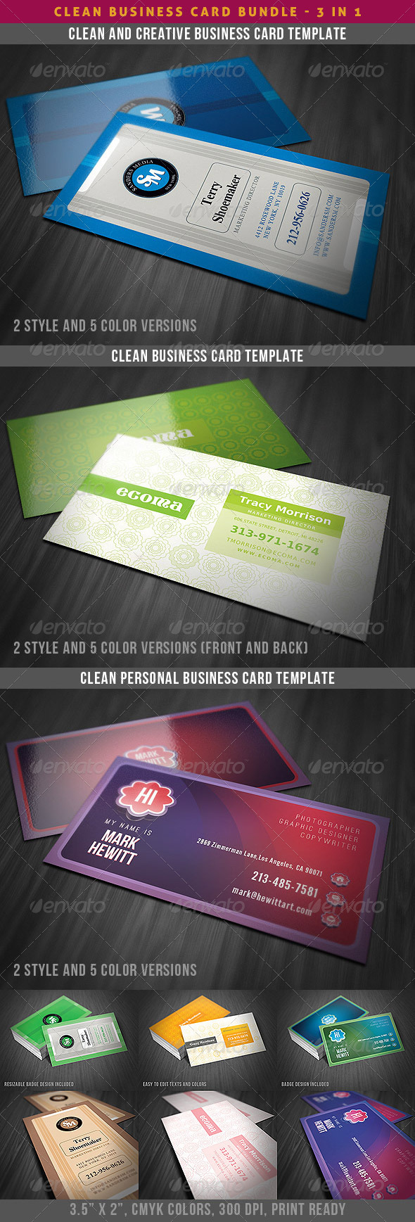 Clean & Creative Business Cards Bundle - Creative Business Cards