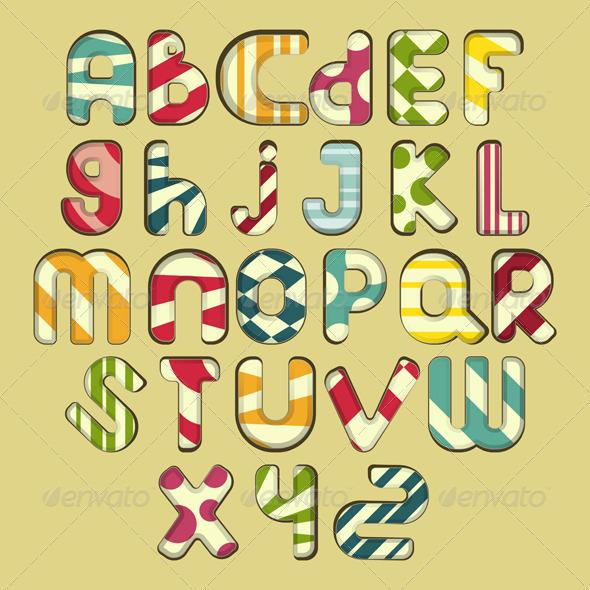 Multicolored Striped Alphabet - Decorative Symbols Decorative