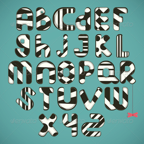 black-white striped alphabet - Decorative Symbols Decorative