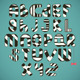black-white striped alphabet - GraphicRiver Item for Sale