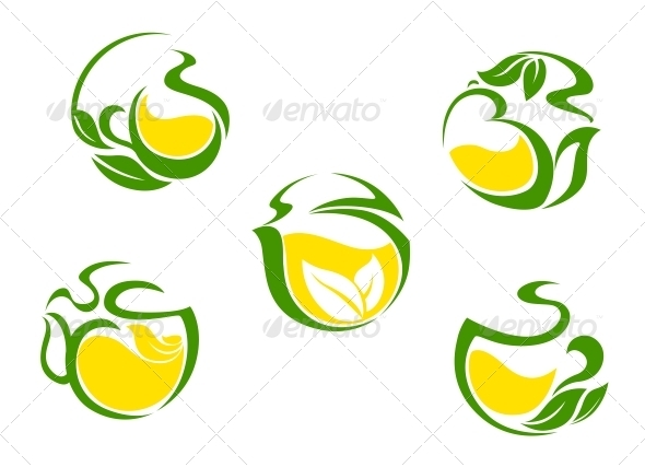Tea symbols with lemon and green leaves - Food Objects