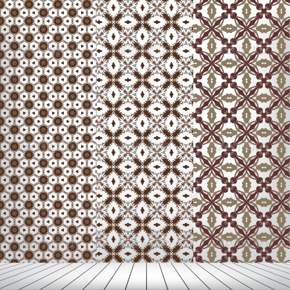 Room with set seamless and wooden floor - Patterns Decorative