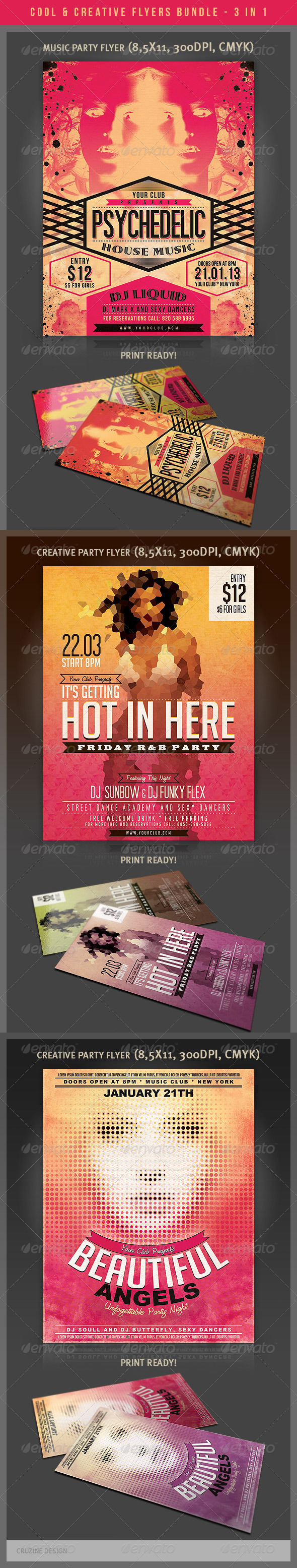 Cool & Creative Party Flyers Bundle - Clubs & Parties Events