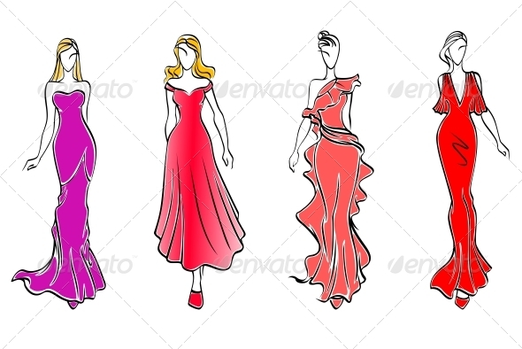 Womens in evening dresses - People Characters