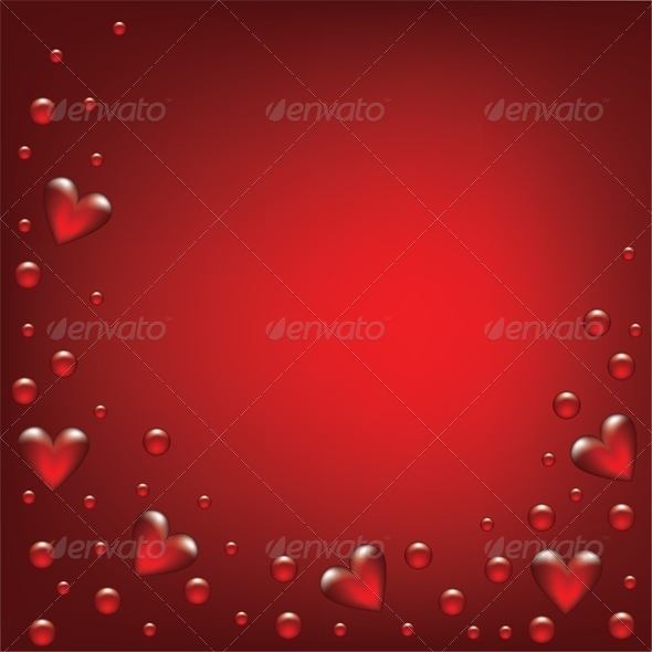 transparent hearts on red background - Valentines Seasons/Holidays