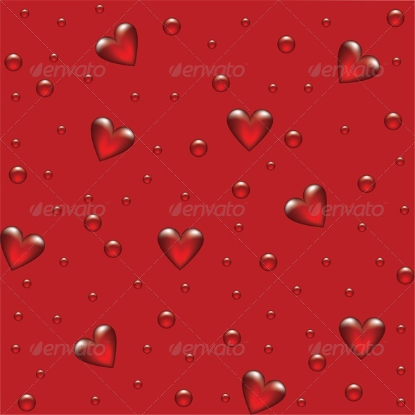 red background with transparent hearted  - Valentines Seasons/Holidays