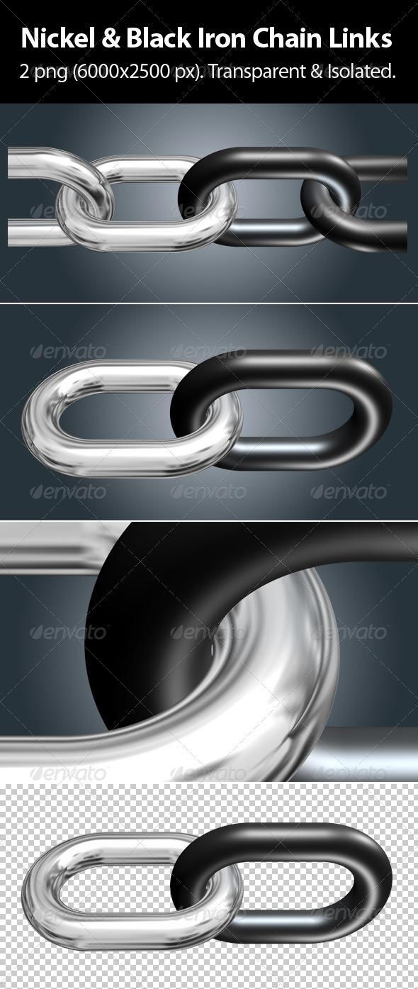 Nickel & Black Iron Chain Links - Objects 3D Renders