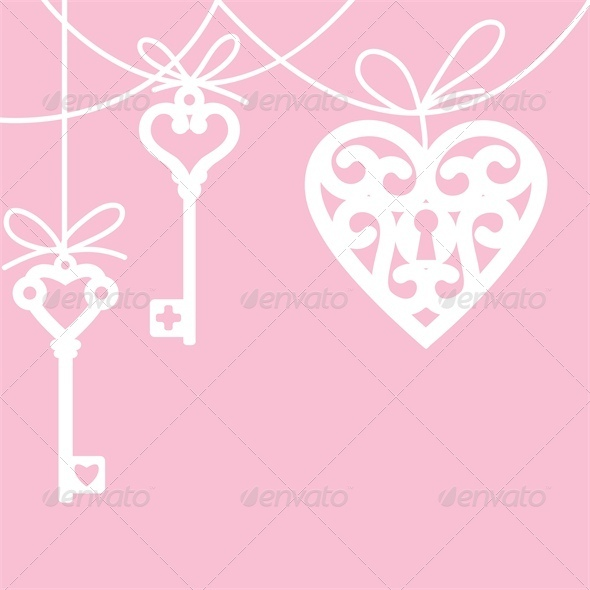 Lock Shaped Heart and Skeleton Key - Valentines Seasons/Holidays